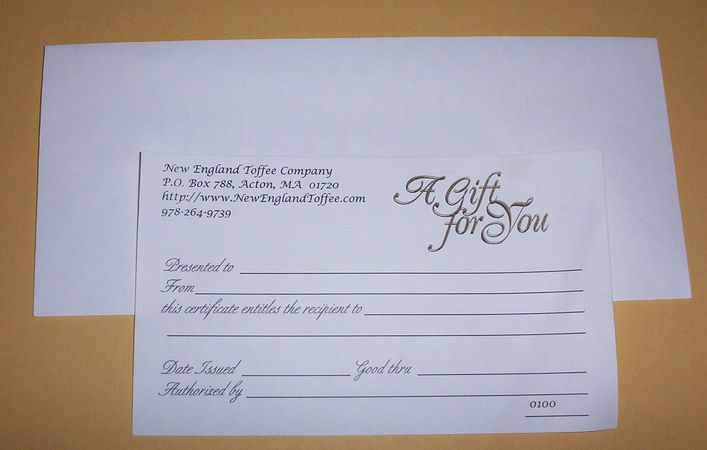 toffee gift certificates vouchers